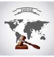world planet with gavel judge vector image vector image