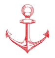 Anchor icon Nautical isolated white red vector image vector image