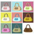 assembly flat icons ladies handbag vector image
