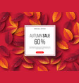 autumn sale banner with 3d leaves and water drops vector image vector image