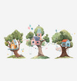 beautiful set with three cute watercolor vector image