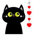 black cat looking at hanging red hearts dash line vector image