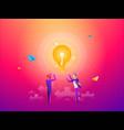 business man with golden key help unlock idea bulb vector image vector image