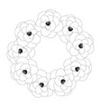 camellia flower outline wreath vector image