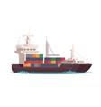 cargo ship in ocean vector image vector image