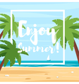 cartoon style of beach with palm trees vector image vector image