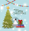 christmas pine tree with snowman and gifts vector image vector image