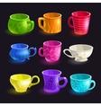 Colorful cartoon tea cups set vector image vector image