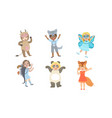 cute happy kids dressed animal costumes set cow vector image vector image