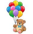 cute teddy bear holding balloons vector image