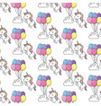 cute unicorn and balloons with cloud background vector image vector image