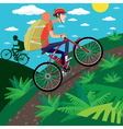 Cycler in the mountains vector image