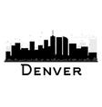 Denver City skyline black and white silhouette vector image vector image