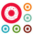 donut icons circle set vector image