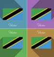 Flags Tanzania Set of colors flat design and long vector image vector image