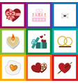 flat icon love set of patisserie gift scrambled vector image vector image
