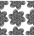 Floral ornament black flower with petals as