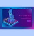 futuristic neon architecture isometric web banner vector image