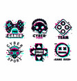 game team emblem set glitch style signs vector image vector image