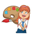 girl happy palllete colored brush school vector image