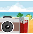 glass with tropical juice drink with camera vector image