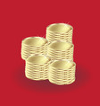 gold set of coins on red background icon vector image