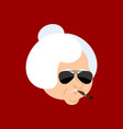 grandmother cool serious avatar of emotions vector image