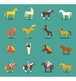 group horses isolated on blue vector image vector image