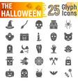 halloween glyph icon set spooky symbols vector image vector image