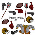 hand drawn american football collection vector image vector image