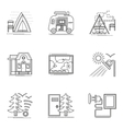 Hiking and camping thin flat line icons set vector image vector image