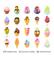 ice cream dessert set 24 items isolated on white vector image vector image