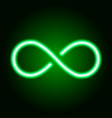 infinity sign from glowing green neon line vector image