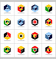 isometric design elements abstract hexagons set vector image