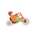 little boy on sport babalance bike first baby vector image vector image