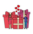 lovers couple with hearts floating and gifts vector image vector image