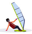 man windboarder holding sail guy windboarding vector image