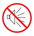 No noise sign in red circle on white background vector image vector image