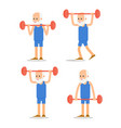 older man perform exercises to barbell lifting vector image vector image