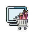 online shopping cart computer gifts vector image vector image