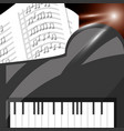 piano instrument with music sheets vector image vector image