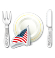 Plate Fork Knife with USA Flag vector image