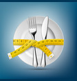 plate with knife fork and tailoring centimeter vector image vector image