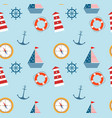 seamless pattern marine theme set vector image