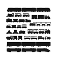 set black silhouette silhouettes trains vector image vector image