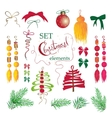 Set Christmas and New Year vintage holiday vector image vector image