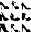 Set of black shoes silhouettes on white background vector image vector image