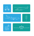 set of transport air service vector image