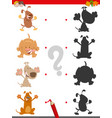 shadow game with cute cartoon dogs vector image vector image