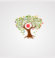 tree house logo with modern leafs logo icon vector image vector image